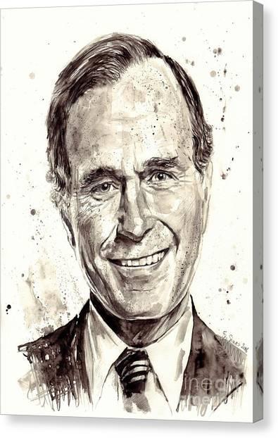 Economics Canvas Print - President George H. W. Bush Portrait by Suzann's Art
