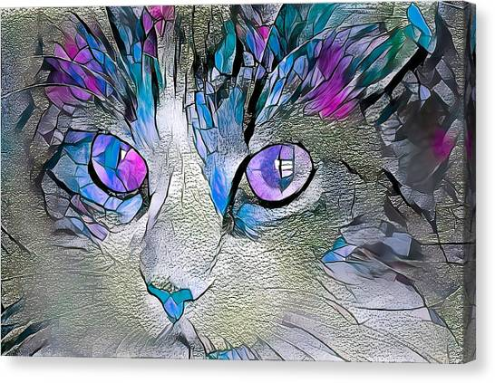 Purple Stained Glass Kitty Canvas Print