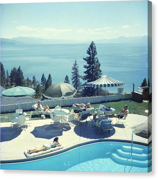 Relaxing At Lake Tahoe Canvas Print by Slim Aarons