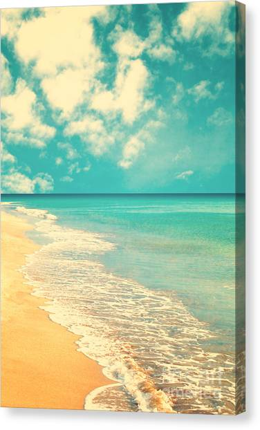 Retro Beach Canvas Print by Andrekart Photography