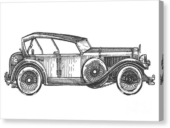 Speed Canvas Print - Retro Car Vector Logo Design Template by Ava Bitter