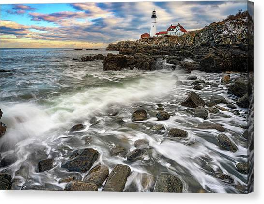 Canvas Print featuring the photograph Rising Tide At Portland Head by Rick Berk