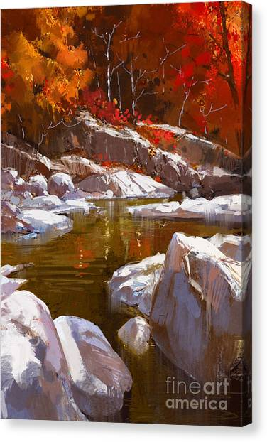 Acrylic Canvas Print - River Lines With Stones In Autumn by Tithi Luadthong