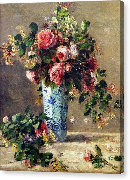 State Hermitage Canvas Print - Roses And Jasmine In A Delft Vase by Peter Barritt