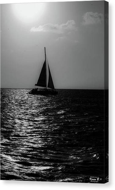 Sailing Into The Sunset Black And White Canvas Print