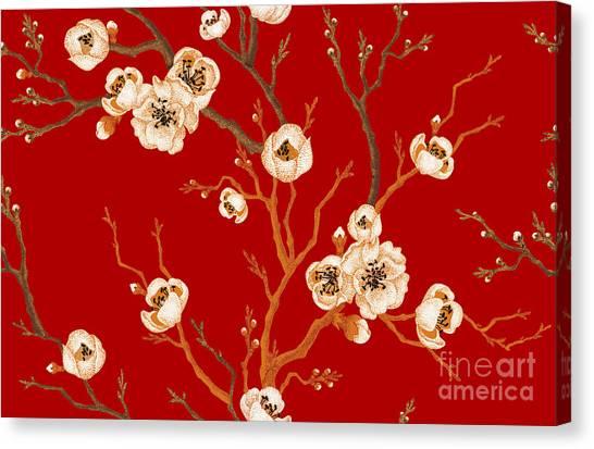 Victorian Garden Canvas Print - Sakura Branch On Red Background. Vector by Mamita