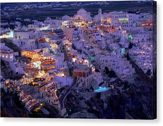 Santorini At Night, Greece Canvas Print