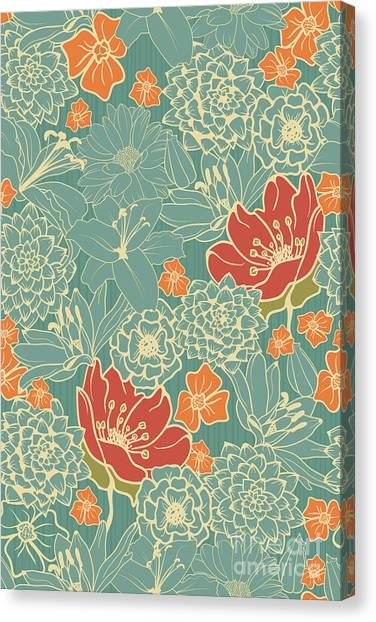 Background Canvas Print - Seamless Floral Pattern With Red by Demih