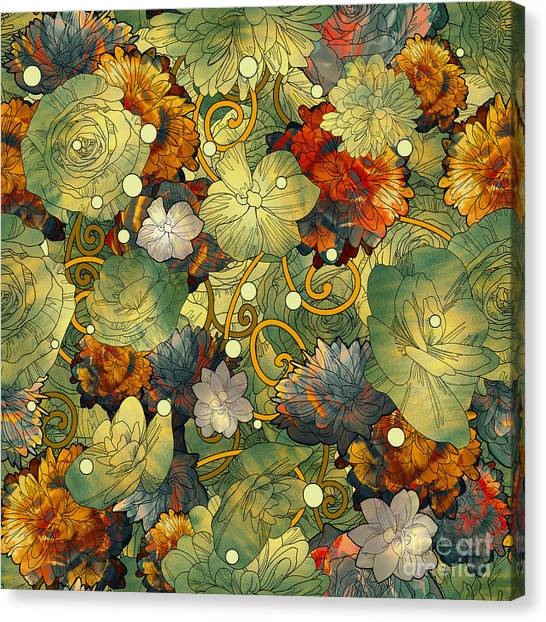 Acrylic Canvas Print - Seamless Pattern Of Colorful Flowers by Tithi Luadthong