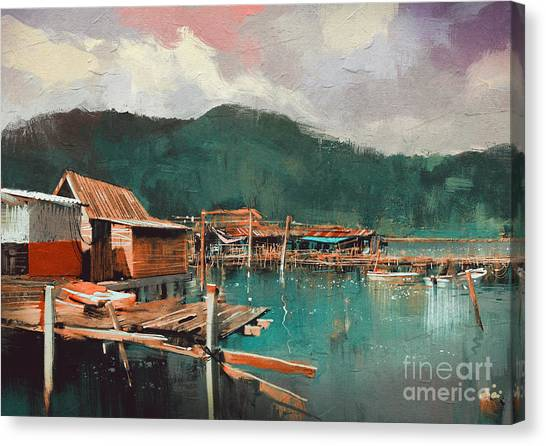 Acrylic Canvas Print - Seascape Painting Showing Old Fishing by Tithi Luadthong