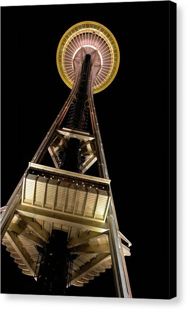 Space Needle Canvas Print - Seattle Space Needle At Night by David Smith