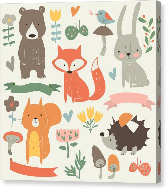 Background Canvas Print - Set Of Forest Animals In Cartoon Style by Kaliaha Volha