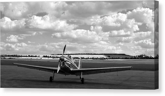 Silver Airplane Duxford England Canvas Print