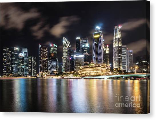 Singapore By Night Canvas Print