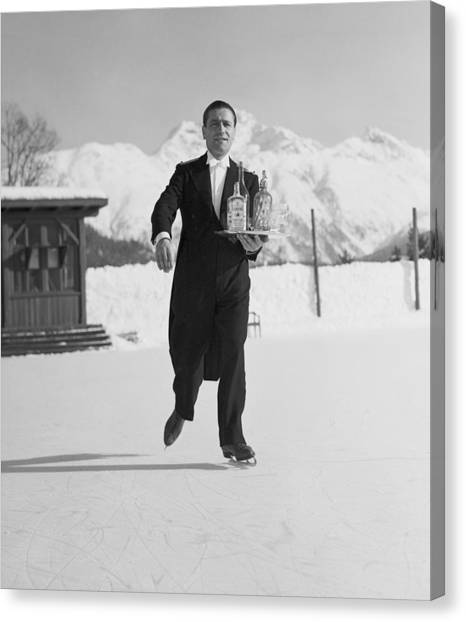 Skating Waiter Canvas Print