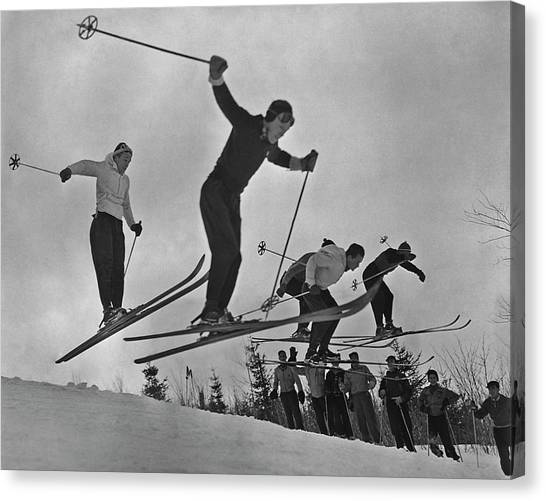 Skiers In Quebec Canvas Print