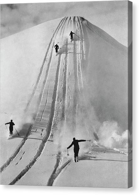 Skiing Straight Canvas Print