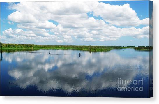 Skyscape Reflections Blue Cypress Marsh Near Vero Beach Florida C6 Canvas Print