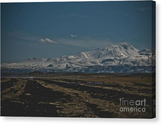 Snow-covered Mountains In The Turkish Region Of Capaddocia. Canvas Print