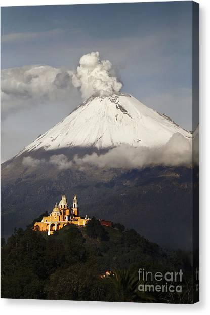 Mexico Canvas Print - Snowy Volcano And Church by Cristobal Garciaferro