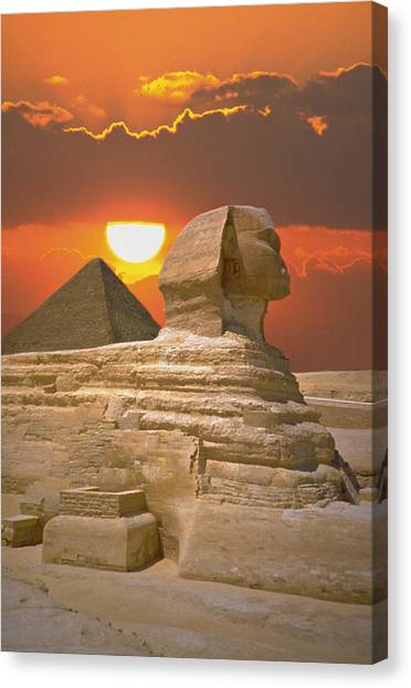 Sphinx And Pyramid At Sunset Canvas Print