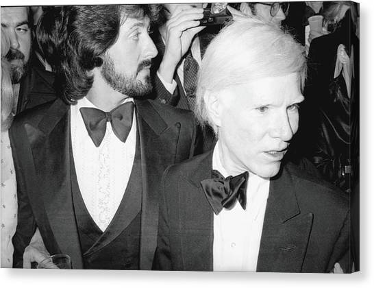 Stallone & Warhol Attend Whitney Opening Canvas Print by Fred W. McDarrah