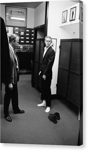 Steve Mcqueen Shops For Suits Canvas Print by John Dominis
