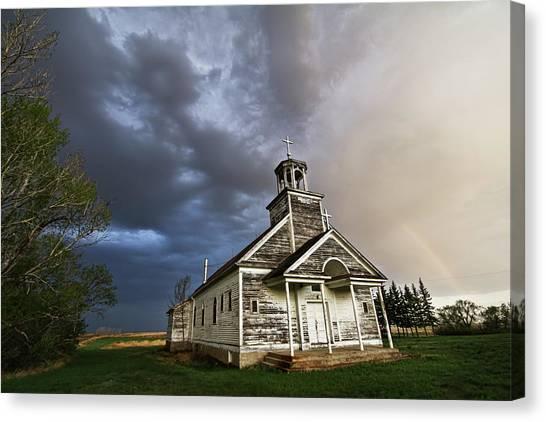 Stormy Sk Church Canvas Print