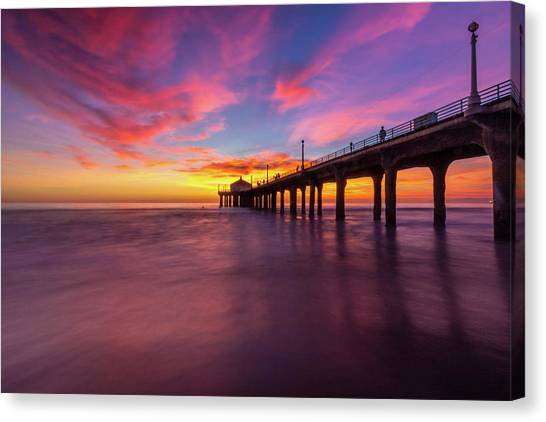 Stunning Sunset At Manhattan Beach Pier Canvas Print