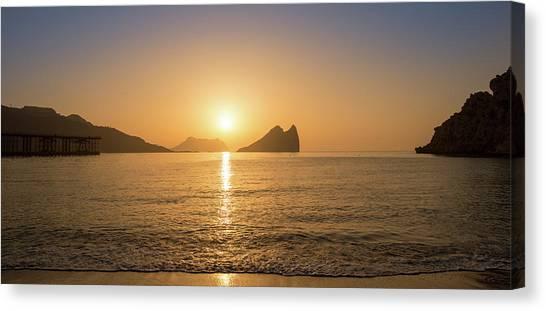 Sunrise On A Beach In Aguilas, Murcia Canvas Print