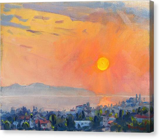 Greek Art Canvas Print - Sunrise Over Dilesi Athens  by Ylli Haruni