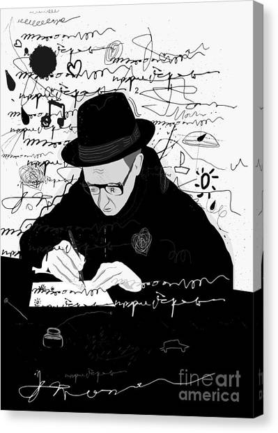 Performing Canvas Print - Symbolic Image Of A Man Who Writes A by Dmitriip