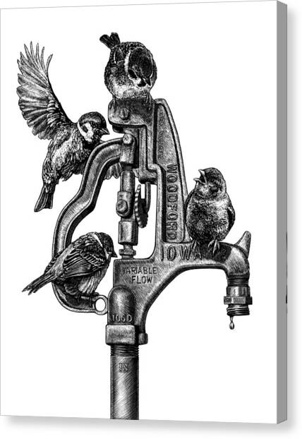 Canvas Print featuring the drawing Talk Around The Watercooler by Clint Hansen