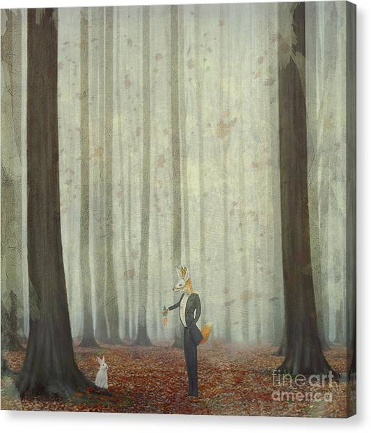 The Fox In A Wood To Hunt On A Hare Canvas Print by Natalia maroz
