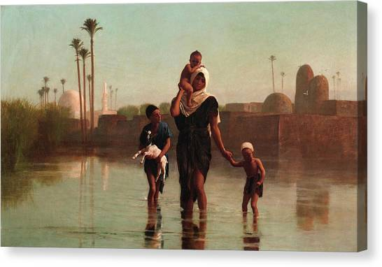 The Nile Canvas Print - The Way From The Village - Time Of Inundation, Egypt by Frederick Goodall