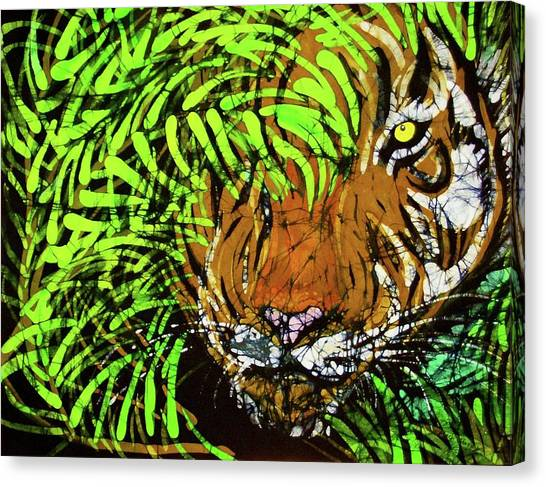 Tiger In Bamboo Canvas Print