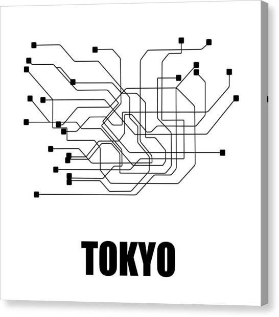 Tasteful Canvas Print - Tokyo White Subway Map by Naxart Studio