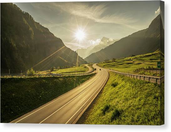 Traffic On A Mountain Road Canvas Print by Buena Vista Images