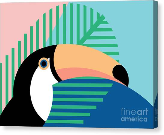 South American Canvas Print - Tropical Bird In Abstract Geometric by Radiocat