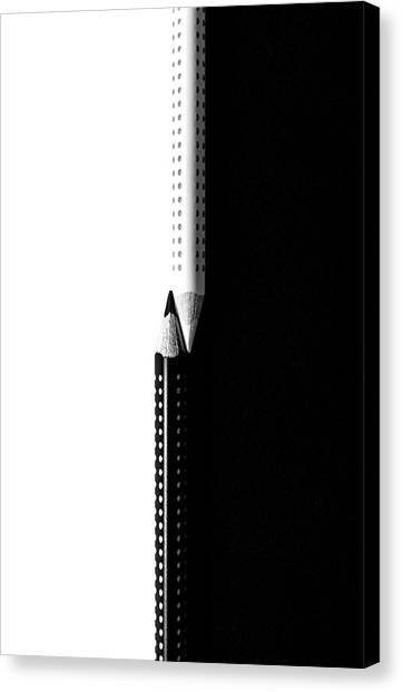 Two Drawing Pencils On A Black And White Surface. Canvas Print