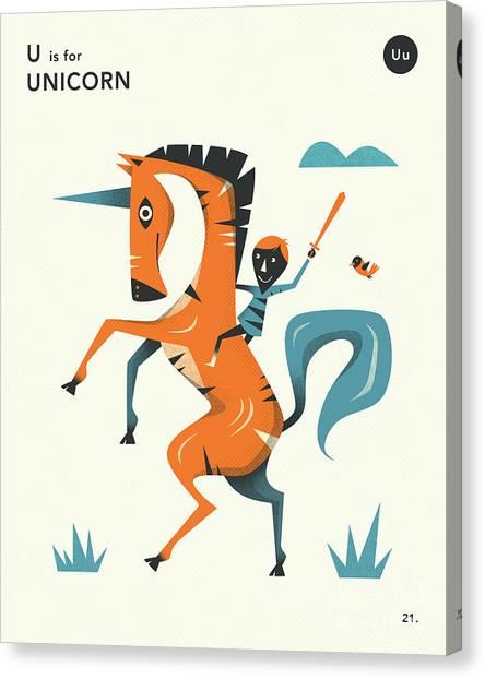 Unicorns Canvas Print - U Is For Unicorn 2 by Jazzberry Blue