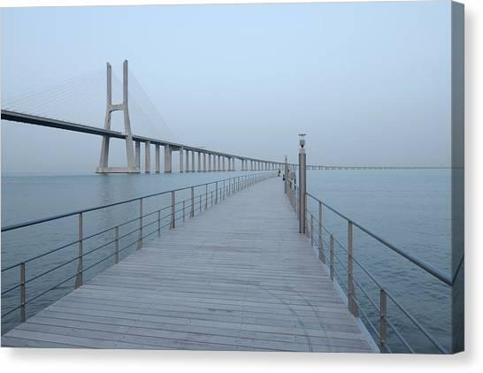 Vasco Da Gama Bridge, Tagus River Canvas Print by Martin Ruegner