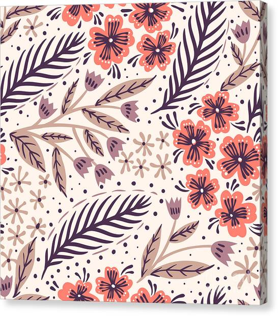 Botany Canvas Print - Vector Floral Seamless Pattern With by Anna Paff