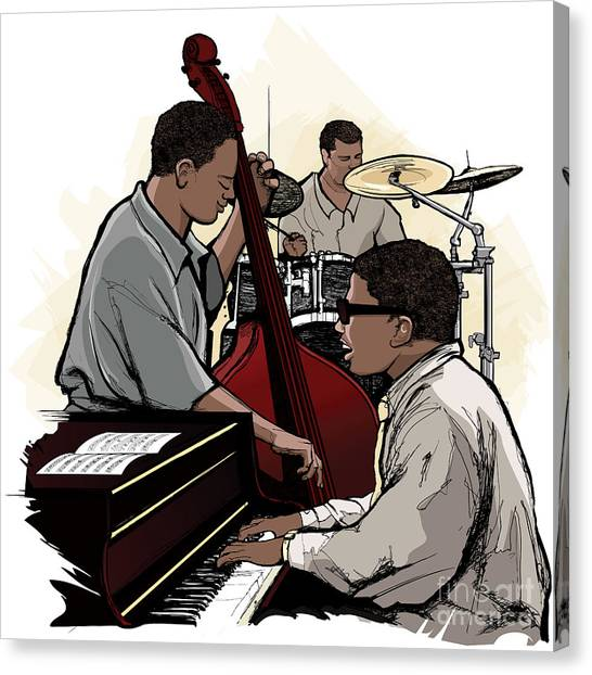 Performing Canvas Print - Vector Illustration Of A Jazz Band by Isaxar