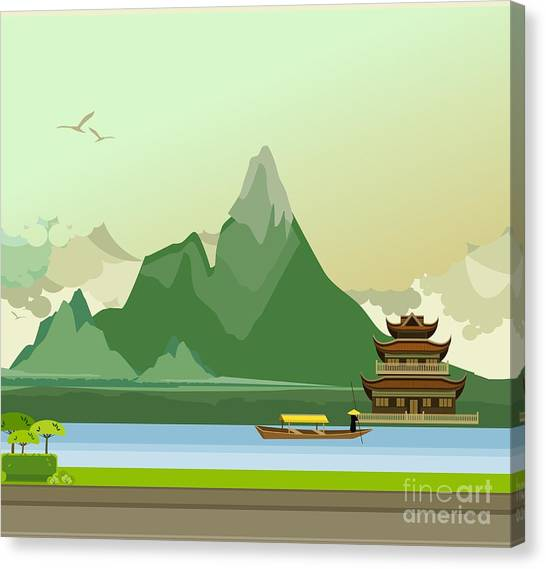Worship Canvas Print - Vector Illustration Of An Old Buddhist by Marrishuanna