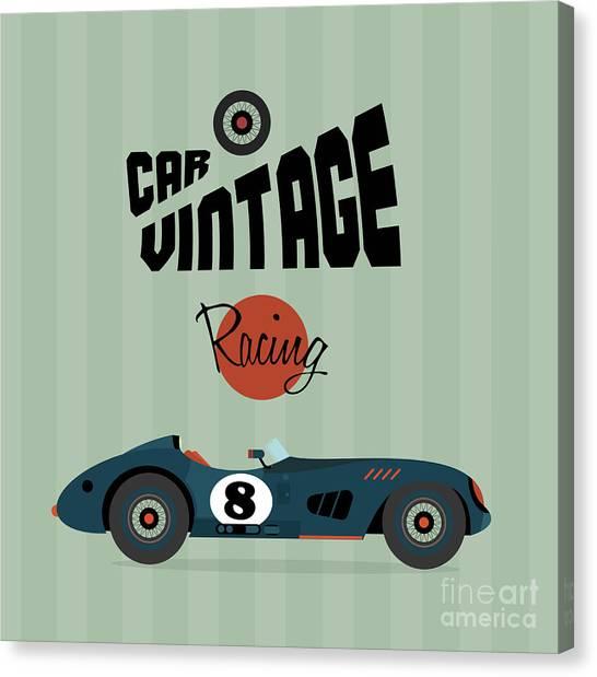 Speed Canvas Print - Vector Vintage Sport Racing Car by Vector Pro