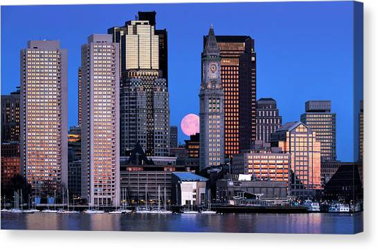 Vernal Equinox And The Worm Moon Over Boston Canvas Print