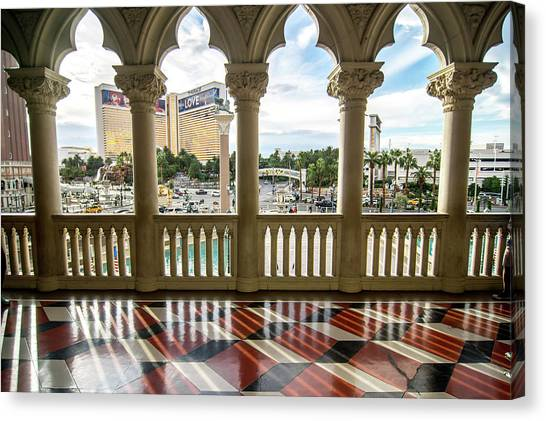 Canvas Print featuring the photograph Views Of Las Vegas Nevada Strip In November by Alex Grichenko