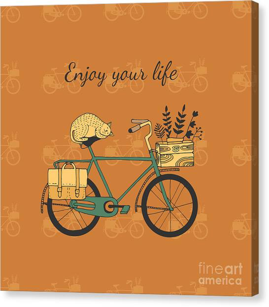 Cyclist Canvas Print - Vintage Bicycle Illustration by Nicetoseeya
