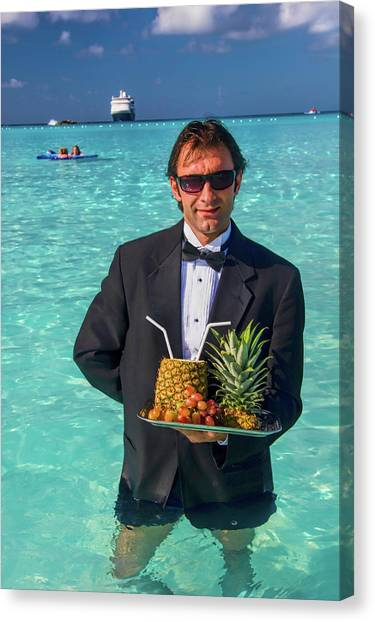 Tuxedo Canvas Print - Waiter At The Beach by David Smith